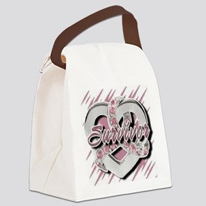 Survivor in Heart Canvas Lunch Bag