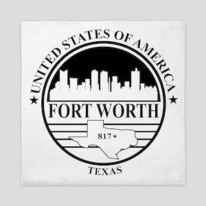 Fort worth logo white and black Queen Duvet