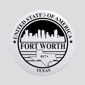 Fort worth logo white and black Round Ornament