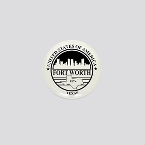 Fort worth logo white and black Mini Button