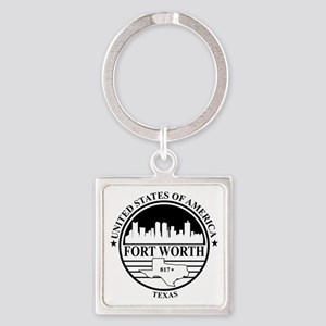 Fort worth logo white and black Square Keychain