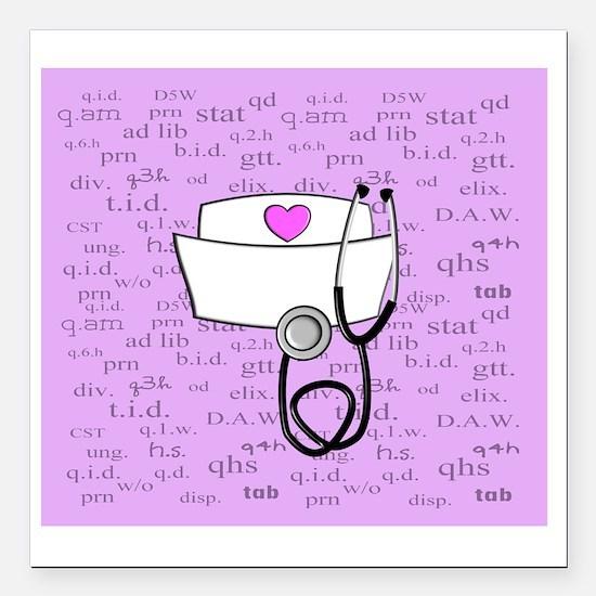 "Nurse Pink Square Car Magnet 3"" x 3"""