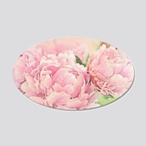 Pink Peonies 20x12 Oval Wall Decal
