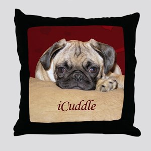 Adorable iCuddle Pug Puppy Throw Pillow