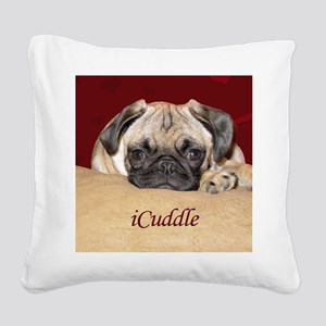 Adorable iCuddle Pug Puppy Square Canvas Pillow