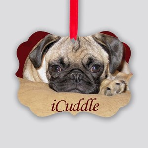 Adorable iCuddle Pug Puppy Picture Ornament
