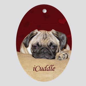Adorable iCuddle Pug Puppy Oval Ornament