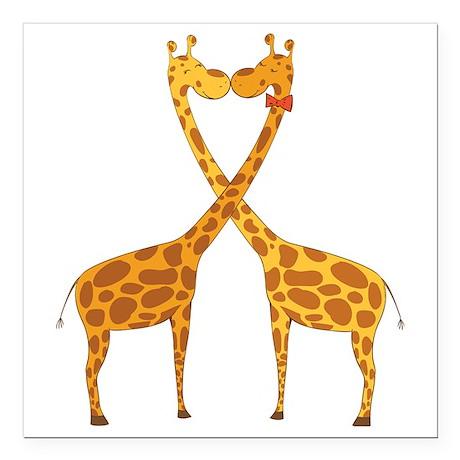 "Love Giraffes Square Car Magnet 3"" x 3"""
