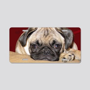 Adorable iCuddle Pug Puppy Aluminum License Plate