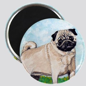 Fawn pug in flowers by Artwork by NikiBug Magnet