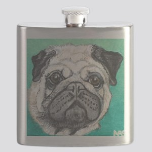 Fawn pug face on teal by Artwork by NikiBug Flask