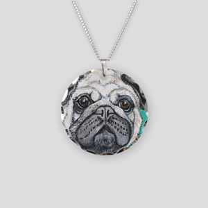 Fawn pug face on teal by Art Necklace Circle Charm