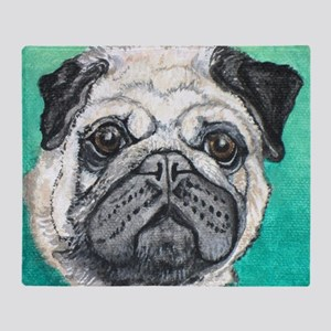 Fawn pug face on teal by Artwork by  Throw Blanket