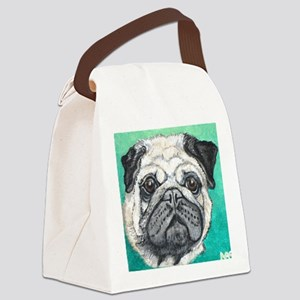 Fawn pug face on teal by Artwork  Canvas Lunch Bag