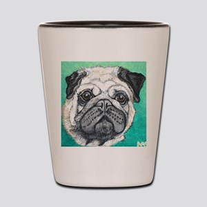 Fawn pug face on teal by Artwork by Nik Shot Glass