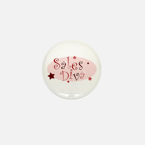 """Sales Diva"" [red] Mini Button"