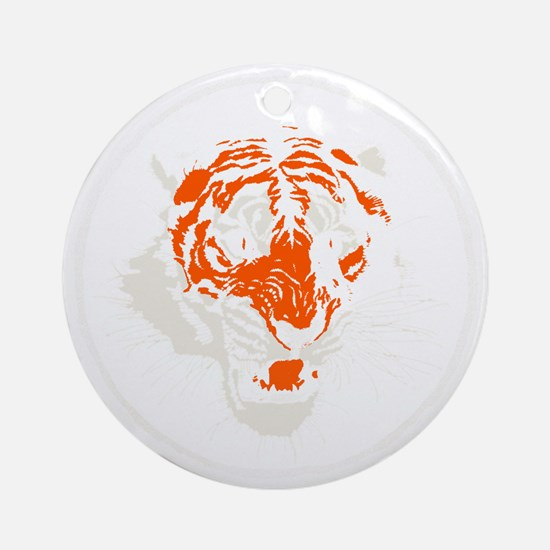 Tiger Face Close-Up Round Ornament