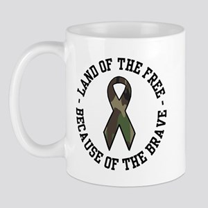 Land of the Free Camo Ribbon Mug
