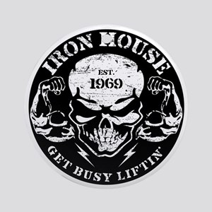 Iron House Muscle Skull Round Ornament