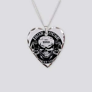 Iron House Muscle Skull Necklace Heart Charm