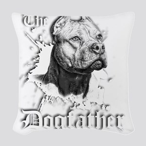 The Pit Bull Dog Father Woven Throw Pillow