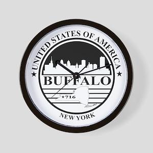Buffalo logo white and black Wall Clock