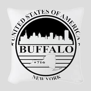 Buffalo logo white and black Woven Throw Pillow
