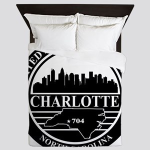 Charlotte logo black and white Queen Duvet
