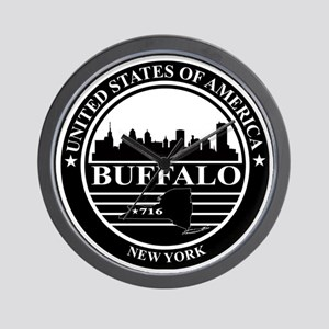 Buffalo logo black and white Wall Clock