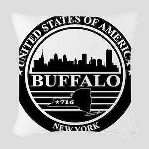 Buffalo logo black and white Woven Throw Pillow