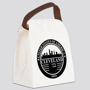 Cleveland Logo black and white Canvas Lunch Bag