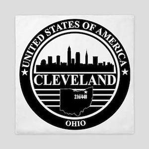 Cleveland Logo black and white Queen Duvet