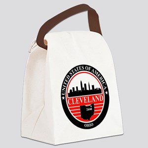 Cleveland logo black and red Canvas Lunch Bag