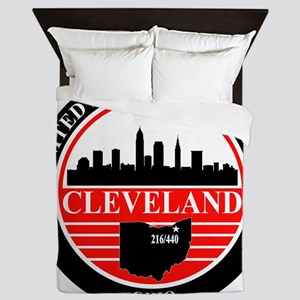 Cleveland logo black and red Queen Duvet