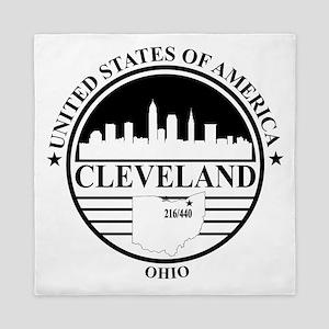 Cleveland logo white and black Queen Duvet