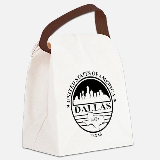 Dallas logo white and black Canvas Lunch Bag