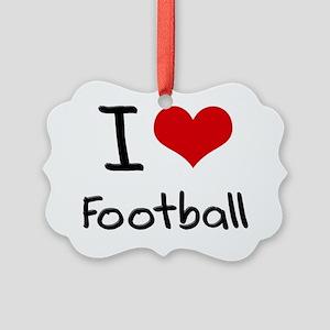 I Love Football Picture Ornament