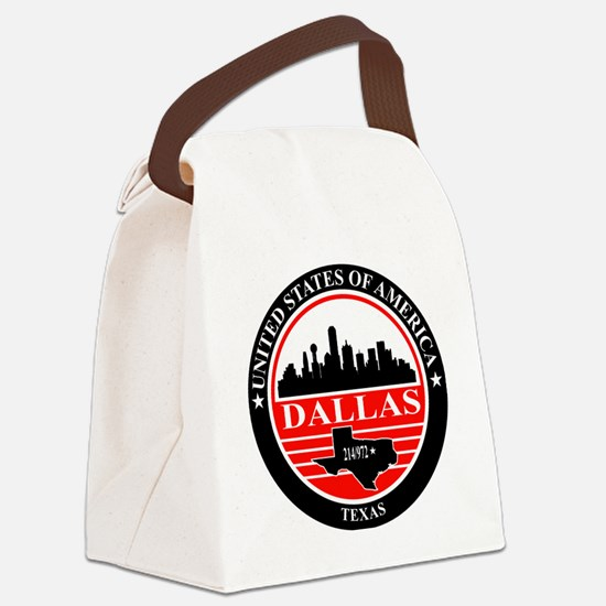 Dallas logo black and red Canvas Lunch Bag