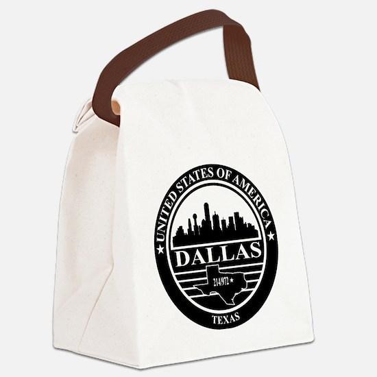 Dallas logo black and white Canvas Lunch Bag