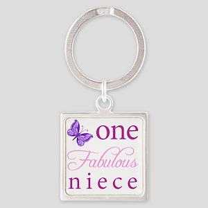 One Fabulous Niece Square Keychain