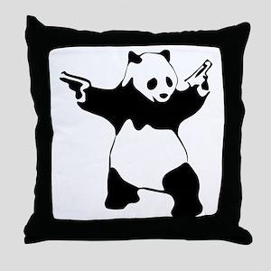 Panda guns Throw Pillow