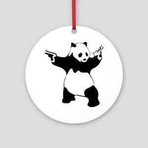 Panda guns Round Ornament