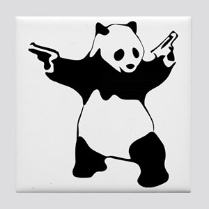 Panda guns Tile Coaster