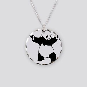 Panda guns Necklace Circle Charm