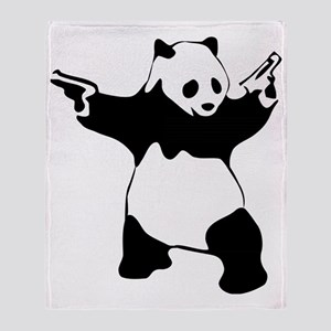 Panda guns Throw Blanket