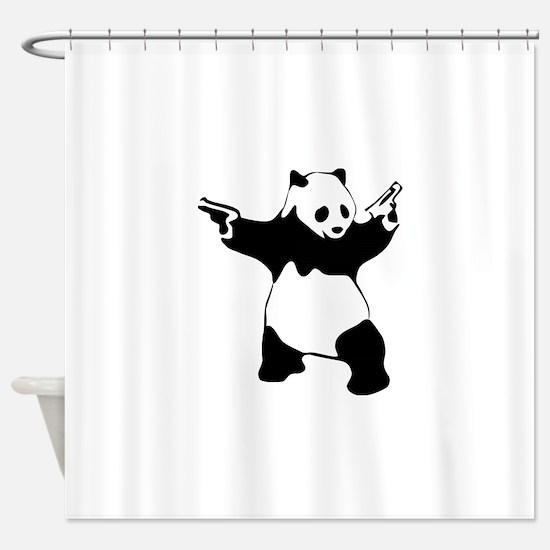 Panda guns Shower Curtain