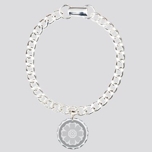 White Lotus Tile Charm Bracelet, One Charm