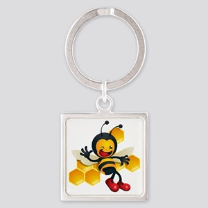 cute baby honey bumble bee bug Square Keychain