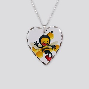cute baby honey bumble bee bu Necklace Heart Charm