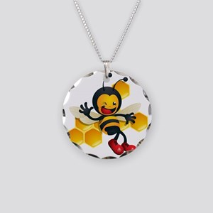 cute baby honey bumble bee b Necklace Circle Charm